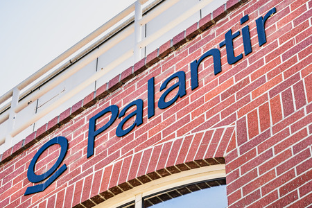 July 26, 2019 Palo Alto  CA  USA - Palantir logo displayed at their HQ in Silicon Valley; Palantir Technologies is a private American software company that specializes in big data analytics