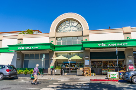 July 26, 2019 Palo Alto  CA  USA - The Whole Foods supermarket located in the downtown area