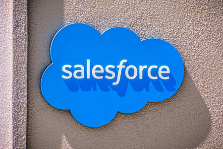 July 26, 2019 Palo Alto  CA  USA - Salesforce at their entrance to their Silicon Valley offices; Salesforce.com, Inc. is an American cloud-based software company headquartered in San Francisco