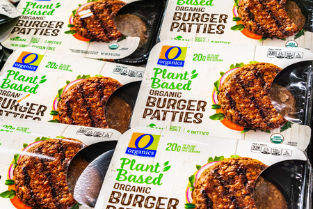 June 25, 2019 Sunnyvale  CA  USA - Organic Plant Based Burger Patties, produced by Organics and competing with Beyond Meat; available for purchase in a Safeway store in San Francisco bay area