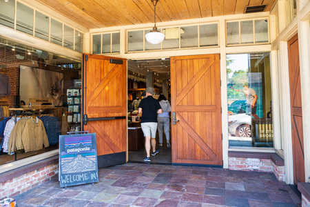 July 26, 2019 Palo Alto  CA  USA - Entrance to the Patagonia store located in downtown Palo Alto Editorial