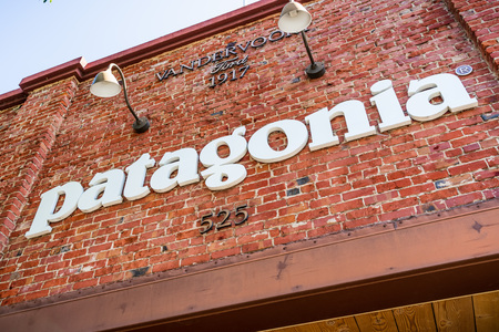 July 26, 2019 Palo Alto  CA  USA - Patagonia sign displayed above the entrance to the store located in downtown Palo Alto