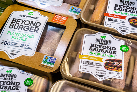 June 25, 2019 Sunnyvale / CA / USA - Beyond Meat Burger and Sausage packages available for purchase in a Safeway store in San Francisco bay area