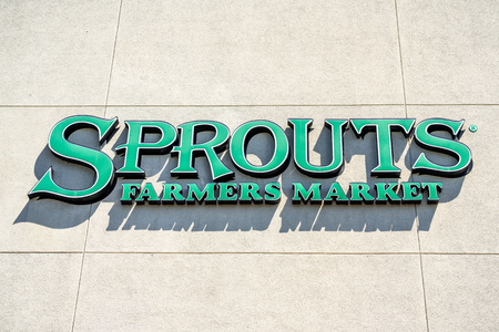 July 31, 2019 Sunnyvale  CA  USA - Sprouts Farmers Market supermarket sign displayed above the entrance to one of their store located in South San Francisco bay area