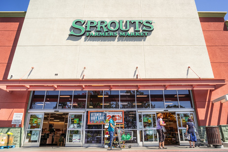 July 31, 2019 Sunnyvale  CA  USA - Entrance to one of the Sprouts Farmers Market supermarkets located in South San Francisco bay area Editorial