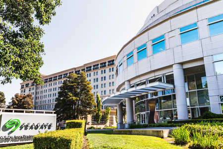 July 31, 2019 Cupertino  CA  USA - Seagate Technology PLC headquarters in Silicon Valley; Seagate is an American data storage company incorporated in Dublin, Ireland