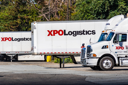 July 31, 2019 San Jose  CA  USA - XPO Logistics distribution point in San Francisco bay; XPO Logistics, Inc. is one of the 10 largest providers of transportation and logistics services in the world