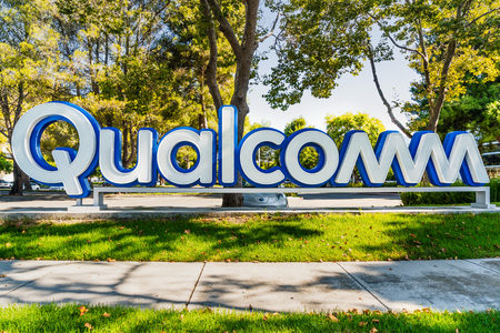 July 31, 2019 Santa Clara  CA  USA - Qualcomm sign at their Silicon Valley office; Qualcomm, Inc. is an American multinational semiconductor and telecommunications equipment company Editorial