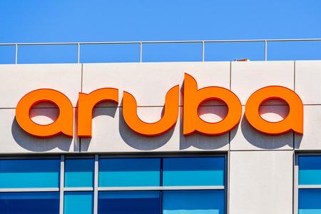 July 29, 2019 Santa Clara  CA  USA - Aruba Networks sign at their HQ in Silicon Valley; Aruba is a Santa Clara, California-based wireless networking subsidiary of Hewlett Packard Enterprise company