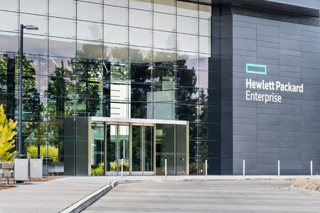 August 5, 2019 Palo Alto  CA  USA - Hewlett Packard Enterprise (HPE) corporate headquarters located in Silicon Valley; HPE is an American multinational enterprise information technology Editorial
