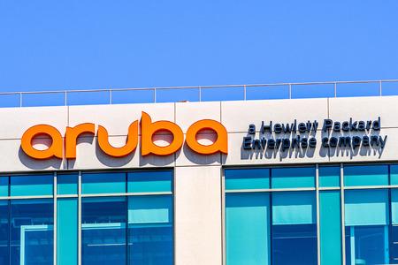 July 29, 2019 Santa Clara  CA  USA - Aruba Networks headquarters in Silicon Valley; Aruba is a Santa Clara, California-based wireless networking subsidiary of Hewlett Packard Enterprise company