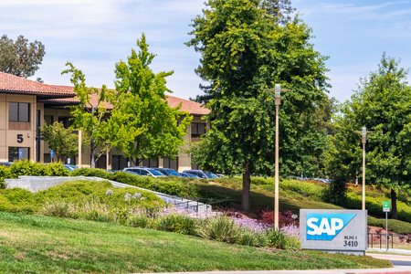 August 6, 2019 Santa Clara  CA  USA - Applied Materials sign posted at the entrance to the Companys campus in Silicon Valley, South San Francisco bay area Editorial