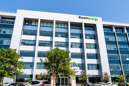 August 7, 2019 San Jose / CA / USA - Bloom Energy headquarters in Silicon Valley; Bloom Energy manufactures and markets solid oxide fuel cells that produce electricity on-site Editorial