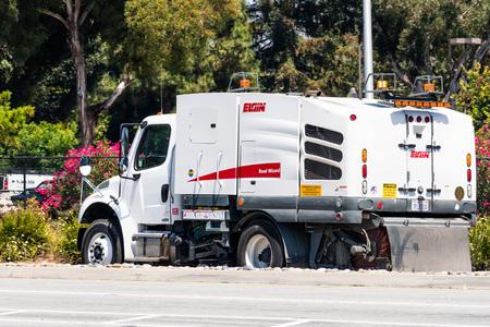 August 6, 2019 Santa Clara  CA  USA - Elgin Street sweeping machine operating in South San Francisco bay area