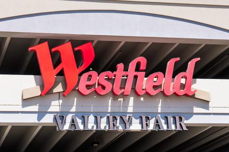 August 9, 2019 San Jose  CA  USA - Close up of Westfield Valley Fair Mall logo; San Francisco bay area