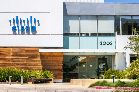 August 7, 2019 Santa Clara / CA / USA - CISCO IoT Cloud business unit (formerly Jasper Technologies, Inc) offices in Silicon Valley; Banco de Imagens - 128407247