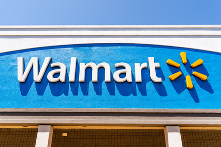August 9, 2019 San Jose  CA  USA - Close up of Walmart logo displayed on the facade of one of their supercenters in South San Francisco bay area