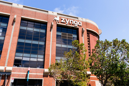 August 10, 2019 San Francisco / CA / USA - Zynga headquarters in Silicon Valley; Zynga Inc. is an American social game developer, its main focus being mobile and social networking platforms Banco de Imagens - 128407275