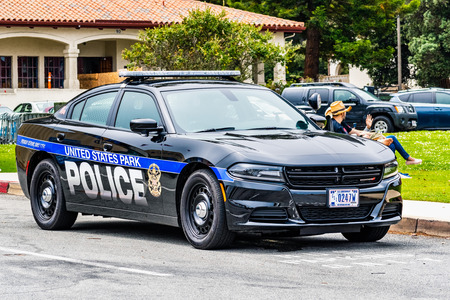 August 10, 2019 San Francisco / CA / USA - United States Park Police unit providing security at a public event in on the ground of Presidio of San Francisco Banco de Imagens - 128407277