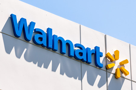 August 12, 2019 Sunnyvale / CA / USA - Close up of Walmart sign displayed at their Walmart Labs offices; WalmartLabs is a subsidiary of Walmart focusing on eCommerce and other technology related areas Standard-Bild - 128407278