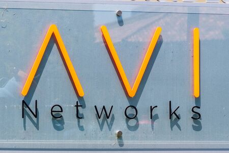 August 7, 2019 Santa Clara / CA / USA - AVI Networks sign at their offices in Silicon Valley; On June 13, 2019, VMware announced has signed a definitive agreement to acquire Avi Networks Avi Networks