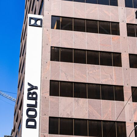 August 21, 2019 San Francisco / CA / USA - Dolby headquarters in downtown San Francisco; Dolby Laboratories, Inc. is an American company specializing in audio noise reduction, encoding, compression