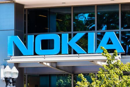 Sep 9, 2019 Sunnyvale  CA  USA - Nokia sign at their office building in Silicon Valley; Nokia Corporation is a Finnish multinational telecommunications and consumer electronics company