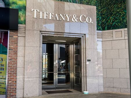 August 20, 2019 Palo Alto  CA  USA - Tiffany & Co store located in the upscale Stanford Shopping Center, an outdoor shopping mall