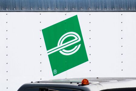 September 9, 2019 Redwood City / CA / USA - Close up of Enterprise logo on one of their rental trucks; Enterprise Rent-A-Car is an American car rental