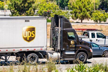 August 6, 2019 Santa Clara / CA / USA - UPS (United Parcel Service) truck driving on the freeway in South San Francisco Bay area Redakční