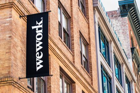 August 21, 2019 San Francisco  CA  USA - WeWork office building located in SOMA district; WeWork is an American company that provides shared work spaces