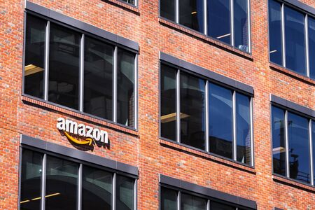 August 21, 2019 San Francisco / CA / USA - Amazon headquarters located in an old brick building in SOMA district, downtown San Francisco