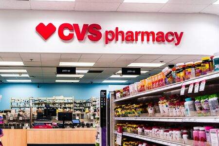 August 16, 2019 Sunnyvale / CA / USA - CVS Pharmacy located inside a Target store; CVS Health acquired Target Corporation's pharmacy and retail clinic businesses