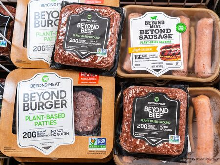 August 16, 2019 Sunnyvale / CA / USA - Beyond Burger, Beyond Sausage and Beyond Beef packages, all Beyond Meat products, available for purchase in a supermarket in San Francisco bay area Banco de Imagens - 132249369