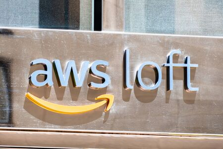 August 21, 2019 San Francisco / CA / USA - Close up of AWS Loft sign at their offices in SOMA district; Amazon Web Services is a subsidiary of Amazon that provides on-demand cloud computing platforms