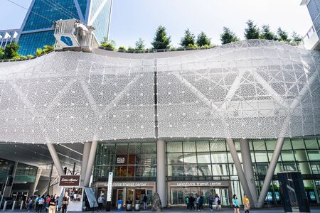 August 21, 2019 San Francisco / CA / USA - Salesforce Transit center is a major new regional transit hub located in SOMA District in San Francisco; Salesforce Park gondola visible on the right