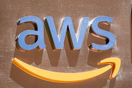 August 21, 2019 San Francisco / CA / USA - Close up of AWS sign at their offices in SOMA district; Amazon Web Services (AWS) is a subsidiary of Amazon that provides on-demand cloud computing platforms