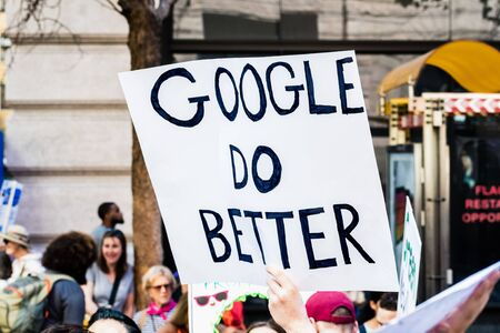 Sep 20, 2019 San Francisco / CA / USA - Google Do Better placard raised at the Global Climate Strike Rally and March in downtown San Francisco; Editorial