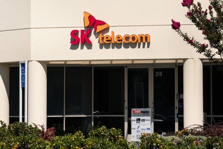 Sep 9, 2019 San Jose  CA  USA - SK Telecom corporate headquarters in Silicon Valley; SK Telecom Co., Ltd. (part of SK Group) is South Koreas largest wireless telecommunications operator
