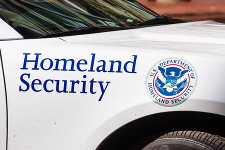 Sep 20, 2019 San Francisco / CA / USA - Homeland Security vehicle offering security at the Climate Strike Rally in downtown San Francisco