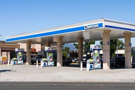 July 31, 2019 Cupertino  CA  USA - Chevron gas station in south San Francisco bay area Editöryel