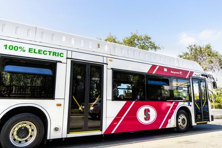 August 20, 2019 Palo Alto / CA / USA - The Marguerite free shuttle, 100% Electric, taking people from the Stanford campus to the nearby Medical Center; the photo was taken outside the campus Editorial