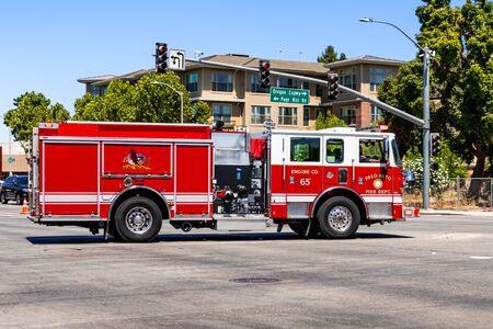 July 26, 2019 Palo Alto / CA / USA - Palo Alto Fire Department vehicle travelling through the city; San Francisco bay area