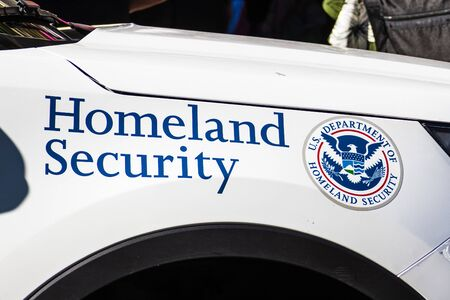 Sep 20, 2019 San Francisco / CA / USA - Homeland Security vehicle offering security at the Climate Strike Rally, in front of San Francisco Federal Building, Nancy Pelosi's office;