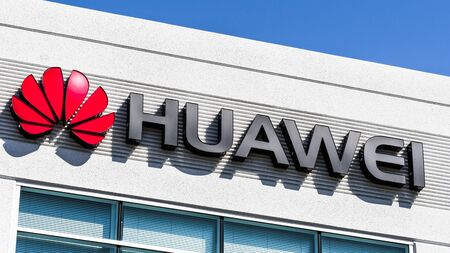 September 6, 2019 Santa Clara  CA  USA - Huawei logo at their offices in Silicon Valley; Huawei is a Chinese technology company that provides telecommunications equipment and consumer electronics