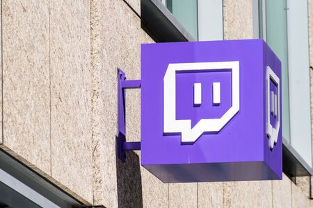 August 21, 2019 San Francisco / CA / USA - Twitch symbol at their headquarters in the downtown area; Twitch is a live streaming video platform owned by Twitch Interactive, a subsidiary of Amazon