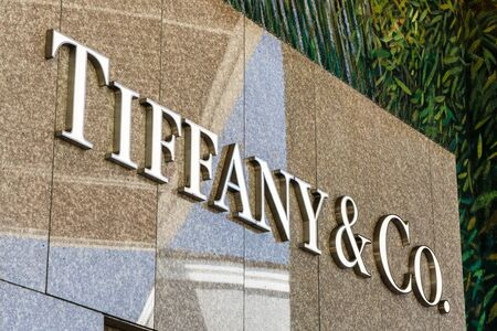 August 20, 2019 Palo Alto  CA  USA - Close up of Tiffany & Co logo at their store located in the upscale Stanford Shopping Center, an outdoor shopping mall Editorial