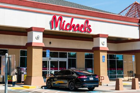 September 13, 2019 Santa Clara / CA / USA - Michaels store entrance to one of their locations in south San Francisco bay area; Michaels is a retail chain of stores specializing in arts and crafts