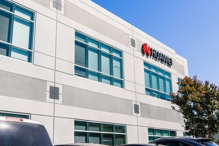 September 6, 2019 Santa Clara  CA  USA - Huawei office building in Silicon Valley; Huawei is a Chinese technology company that provides telecommunications equipment and sells consumer electronics