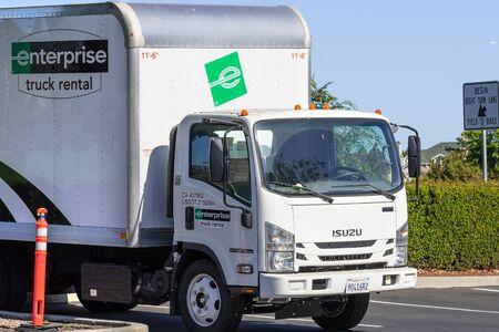 September 9, 2019 Redwood City / CA / USA - Enterprise rental truck; Enterprise Rent-A-Car is an American car rental company